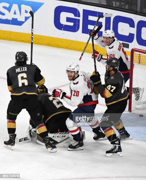 Lars Eller and Andre Burakovsky of the Washington Capitals celebrate after Burakovsky assisted Eller on a thirdperiod goal against the Vegas Golden...