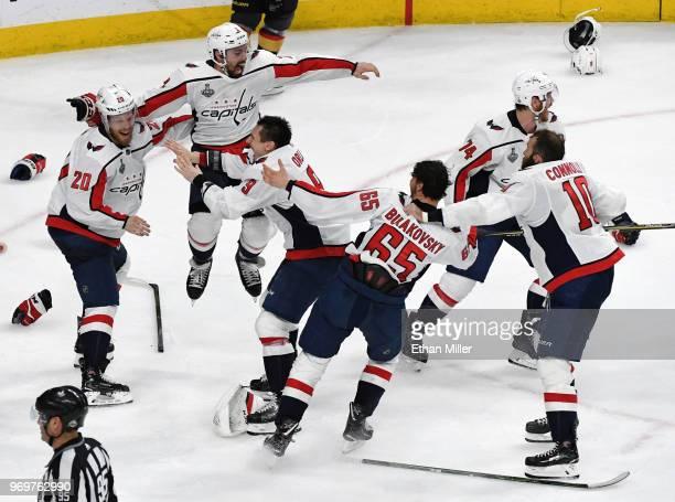 Lars Eller Matt Niskanen Dmitry Orlov Andre Burakovsky John Carlson and Brett Connolly of the Washington Capitals celebrate their 43 win over the...