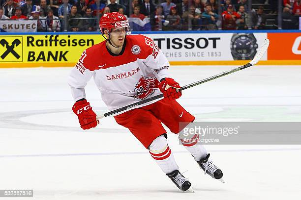 Lars Eller of Denmark skates agaist Russia at Ice Palace on May 12 2016 in Moscow Russia Russia defeated Denmark 101