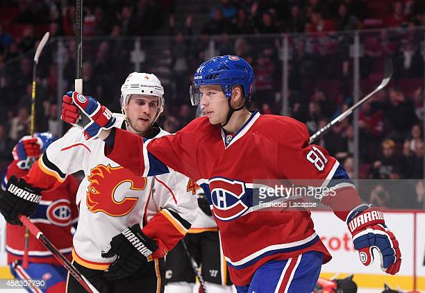 Lars Eller of the Montreal Canadiens celebrates after scoring a goal against the Calgary Flames in the NHL game at the Bell Centre on November 2 2014...