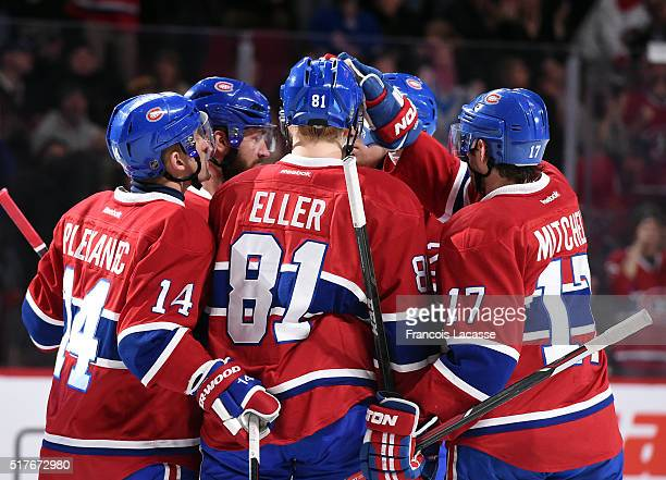 Lars Eller of the Montreal Canadiens celebrates after scoring a goal against the New York Rangers in the NHL game at the Bell Centre on March 26 2016...