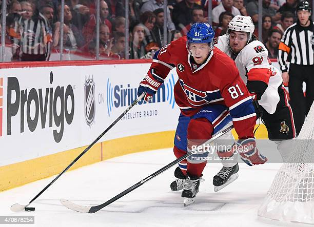 Lars Eller of the Montreal Canadiens controls the puck while being challenged by Mika Zibanejad of the Ottawa Senators in Game Two of the Eastern...