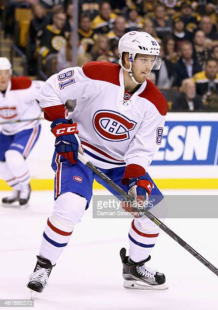 Lars Eller of the Montreal Canadiens plays in the game against the Boston Bruins at TD Garden on October 10 2015 in Boston Massachusetts