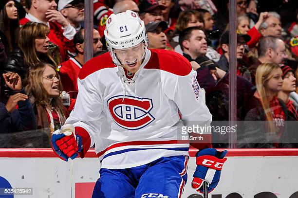 Lars Eller of the Montreal Canadiens reacts after scoring against the Chicago Blackhawks in the first period of the NHL game at the United Center on...