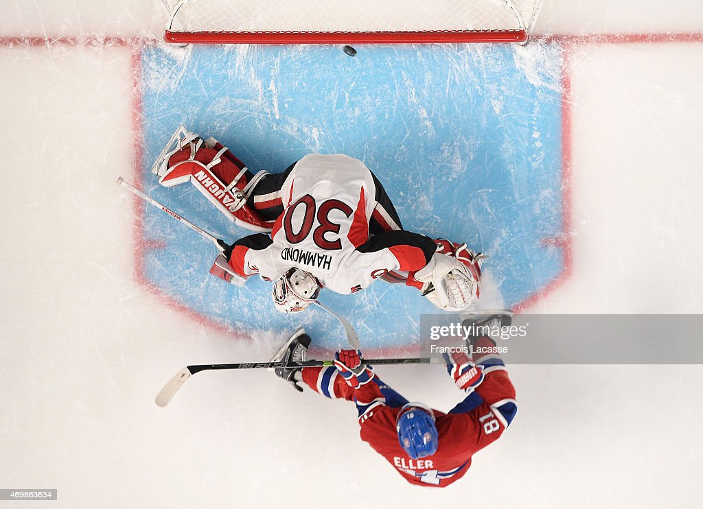 Lars Eller #81 of the Montreal Canadiens scores a goal against Andrew Hammond #30 of Ottawa Senators in Game One of the Eastern Conference Quarterfinals during the 2015 NHL Stanley Cup Playoffs at the Bell Centre on April 15, 2015 in Montreal, Quebec, Canada.
