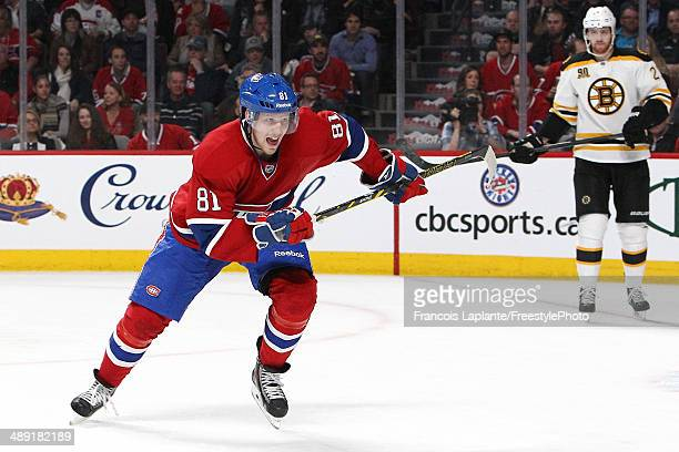 Lars Eller of the Montreal Canadiens skates against the Boston Bruins in Game Three of the Second Round of the 2014 NHL Stanley Cup Playoffs at the...