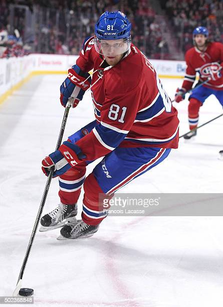 Lars Eller of the Montreal Canadiens skates with the puck against the Washington Capitals in the NHL game at the Bell Centre on December 3 2015 in...