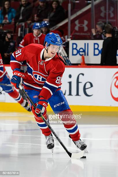 Lars Eller of the Montreal Canadiens skates with the puck during the warmup prior to the NHL game against the Ottawa Senators at the Bell Centre on...