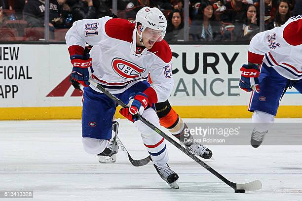 Lars Eller of the Montreal Canadiens skates with the puck during the game against the Anaheim Ducks on March 2 2016 at Honda Center in Anaheim...