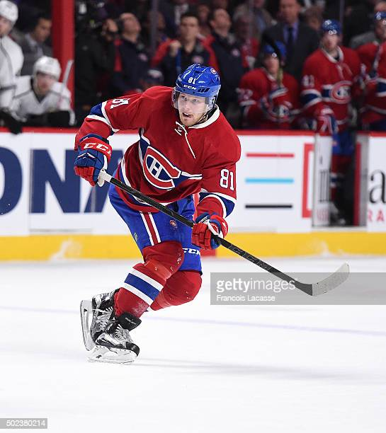 Lars Eller of the Montreal Canadiens takes a shot against the Los Angeles Kings in the NHL game at the Bell Centre on December 17 2015 in Montreal...