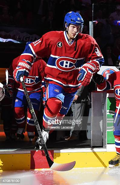Lars Eller of the Montreal Canadiens takes to the ice before action against the Ottawa Senators in Game Two of the Eastern Conference Quarterfinals...