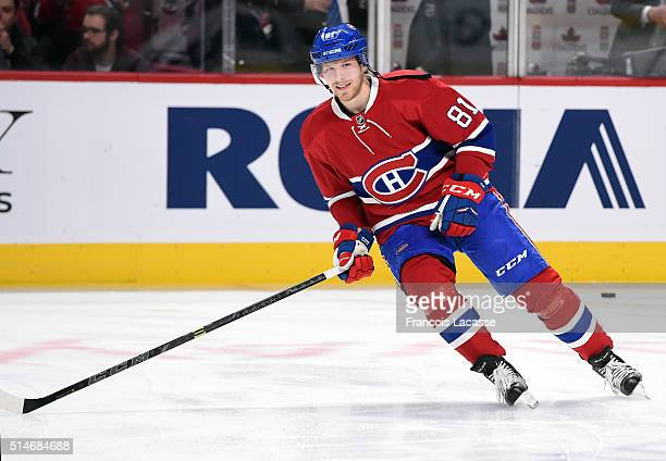Lars Eller of the Montreal Canadiens warms up prior to the NHL game against the Buffalo Sabres at the Bell Centre on March 10 2016 in Montreal Quebec...