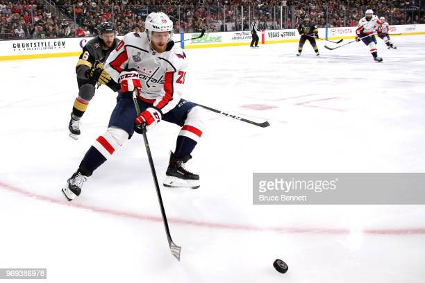 Lars Eller of the Washington Capitals carries the puck against the Vegas Golden Knights during the first period in Game Five of the 2018 NHL Stanley...