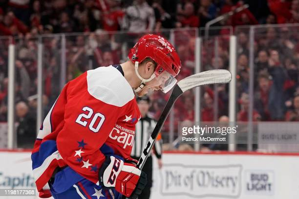 Lars Eller of the Washington Capitals celebrates after scoring a goal against the Pittsburgh Penguins in the first period at Capital One Arena on...