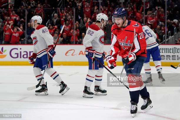 Lars Eller of the Washington Capitals celebrates after scoring a goal against the Montreal Canadiens in the second period at Capital One Arena on...