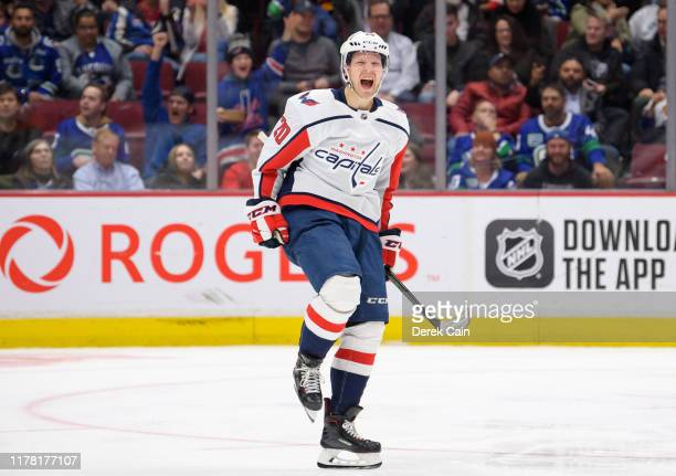 Lars Eller of the Washington Capitals celebrates after scoring during their NHL game against the Vancouver Canucks at Rogers Arena October 25, 2019...
