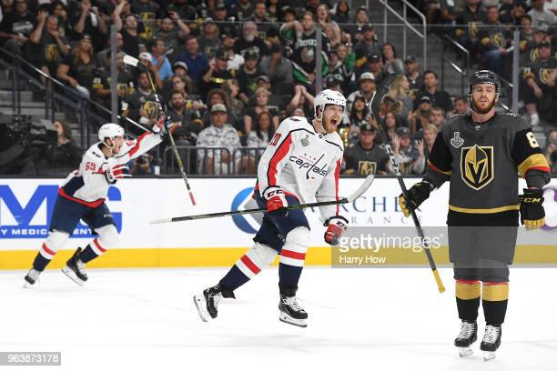 Lars Eller of the Washington Capitals celebrates his first-period goal against the Vegas Golden Knights in Game Two of the 2018 NHL Stanley Cup Final...