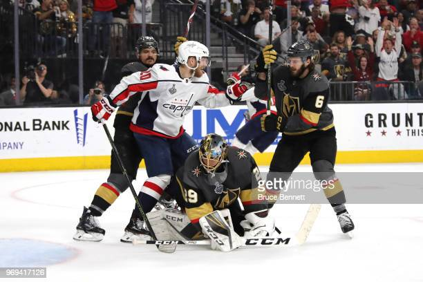 Lars Eller of the Washington Capitals celebrates his third-period goal past Marc-Andre Fleury of the Vegas Golden Knights in Game Five of the 2018...