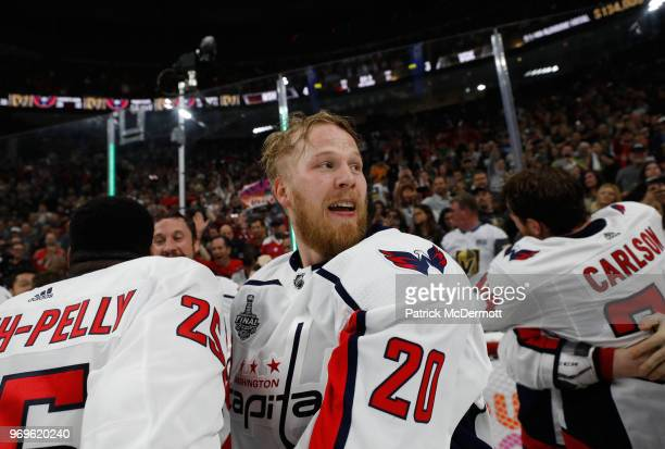 Lars Eller of the Washington Capitals celebrates with his teammates after Game Five of the 2018 NHL Stanley Cup Final between the Washington Capitals...