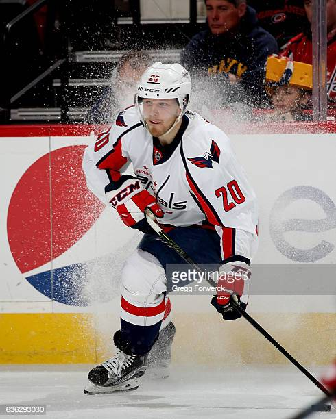 Lars Eller of the Washington Capitals controls the puck on the ice during an NHL game against the Carolina Hurricanes on December 16 2016 at PNC...