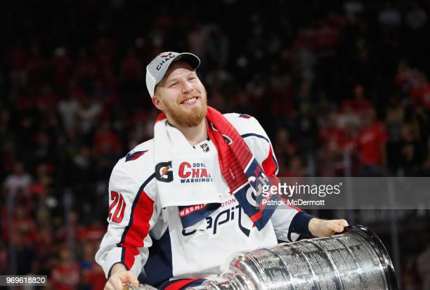 Lars Eller of the Washington Capitals holds the Stanley Cup after their team defeated the Vegas Golden Knights 43 in Game Five of the 2018 NHL...