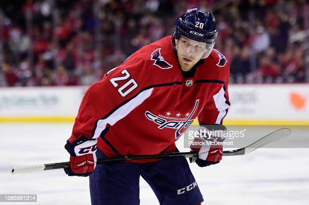 Lars Eller of the Washington Capitals in action in the first period against the Dallas Stars at Capital One Arena on November 3, 2018 in Washington,...