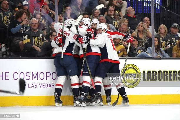 Lars Eller of the Washington Capitals is congratulated by his teammates after scoring a third-period goal against the Vegas Golden Knights in Game...