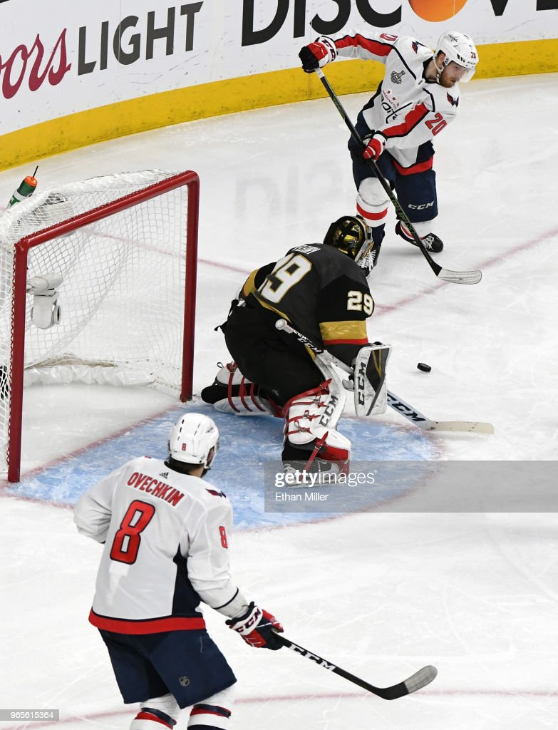 Lars Eller #20 of the Washington Capitals passes the puck past Marc-Andre Fleury #29 of the Vegas Golden Knights to Alex Ovechkin #8 for a goal in the second period of Game Two of the 2018 NHL Stanley Cup Final at T-Mobile Arena on May 30, 2018 in Las Vegas, Nevada. The Capitals defeated the Golden Knights 3-2.