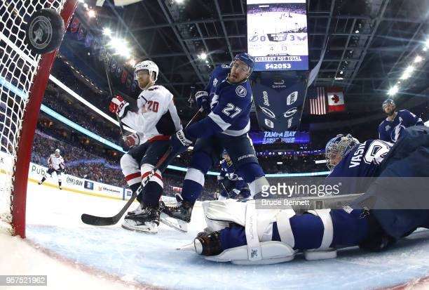 Lars Eller of the Washington Capitals scores a goal against Andrei Vasilevskiy of the Tampa Bay Lightning during the second period in Game One of the...
