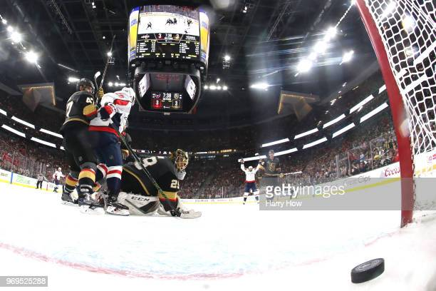 Lars Eller of the Washington Capitals scores a thirdperiod goal past MarcAndre Fleury of the Vegas Golden Knights in Game Five of the 2018 NHL...