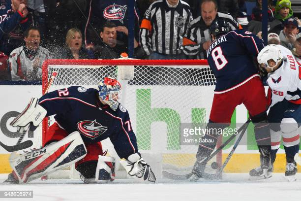 Lars Eller of the Washington Capitals scores the winning goal past goaltender Sergei Bobrovsky of the Columbus Blue Jackets in the second overtime in...