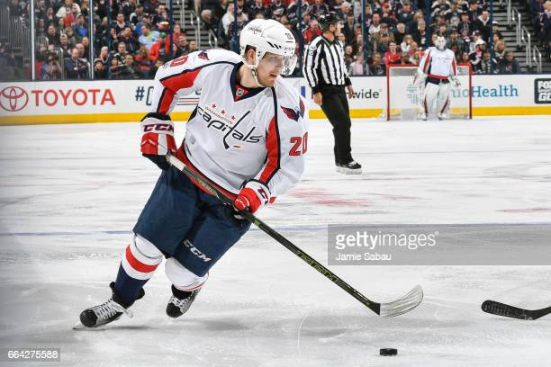 Lars Eller of the Washington Capitals skates against the Columbus Blue Jackets on April 2 2017 at Nationwide Arena in Columbus Ohio