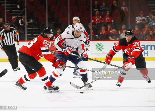 Lars Eller of the Washington Capitals skates against the New Jersey Devils during a preseason game at the Prudential Center on September 18 2017 in...