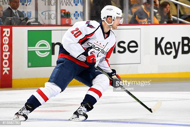 Lars Eller of the Washington Capitals skates against the Pittsburgh Penguins at PPG Paints Arena on October 13 2016 in Pittsburgh Pennsylvania