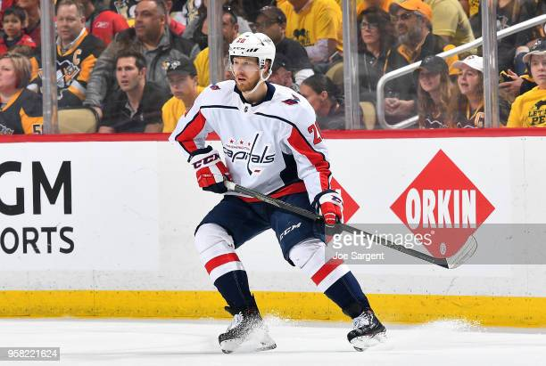 Lars Eller of the Washington Capitals skates against the Pittsburgh Penguins in Game Six of the Eastern Conference Second Round during the 2018 NHL...