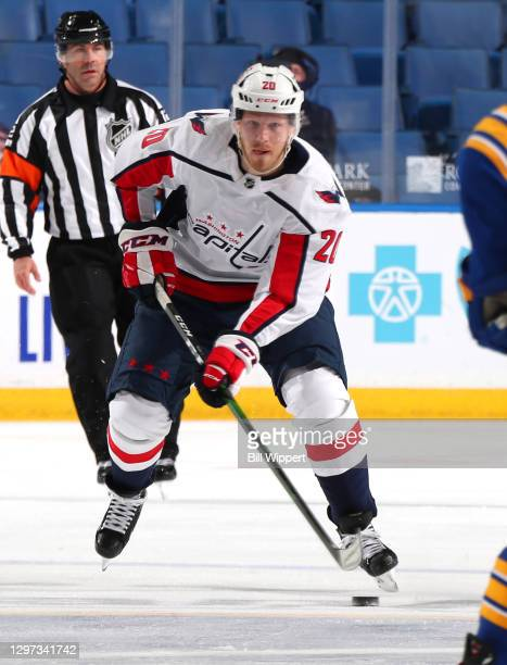Lars Eller of the Washington Capitals skates during an NHL game against the Buffalo Sabres on January 15, 2021 at KeyBank Center in Buffalo, New York.