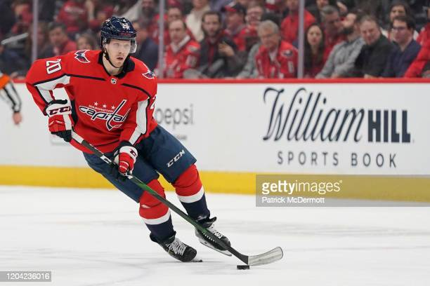 Lars Eller of the Washington Capitals skates with the puck against the Los Angeles Kings in the first period at Capital One Arena on February 04,...