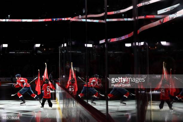 Lars Eller of the Washington Capitals takes the ice before playing against the New York Islanders during the first period at Capital One Arena on...
