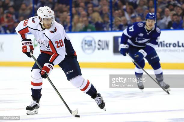Lars Eller of the Washington Capitals tends goal against the Tampa Bay Lightning during the first period in Game Five of the Eastern Conference...