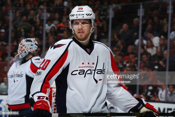 Lars Eller of the Washington Capitals waits for a faceoff during the game against the Anaheim Ducks on March 12 2017 at Honda Center in Anaheim...