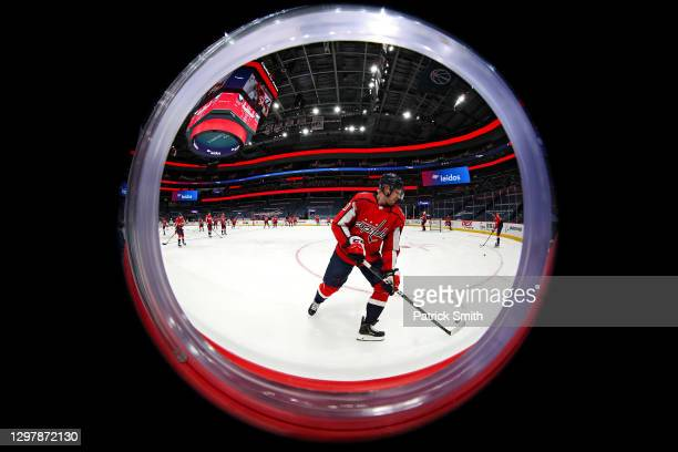 Lars Eller of the Washington Capitals warms up before playing against the Buffalo Sabres at Capital One Arena on January 22, 2021 in Washington, DC.