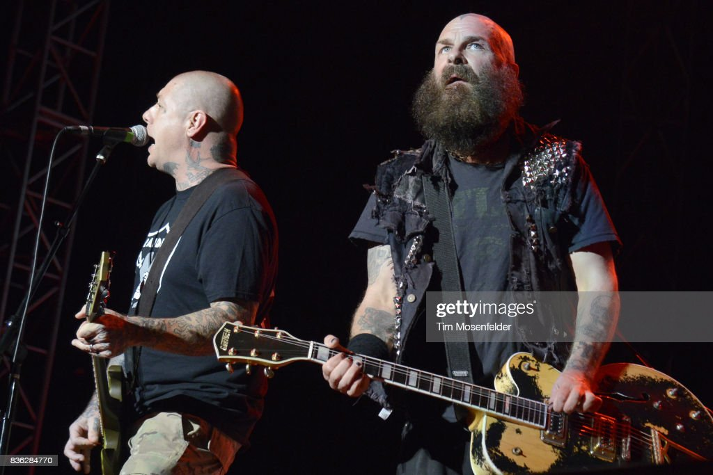 Lars Frederiksen (L) and Tim Armstrong of Rancid perform during the 'From Boston to Berkeley' tour at University of California, Berkeley on August 20, 2017 in Berkeley, California.