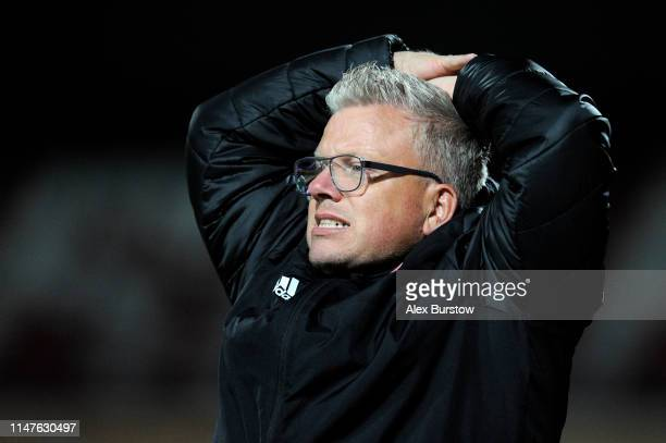 Lars Friis, Head Coach of Brentford B reacts during the friendly match between Brentford B and Manchester City U18 at Griffin Park on May 07, 2019 in...