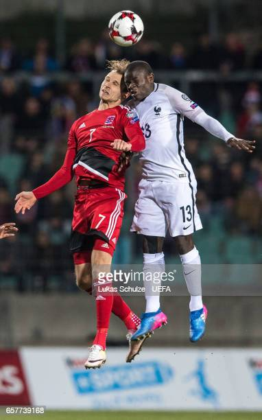 Lars Gerson of Luxembourg and N'Golo Kante of France in action during the FIFA 2018 World Cup Qualifier between Luxembourg and France at Stade Josy...