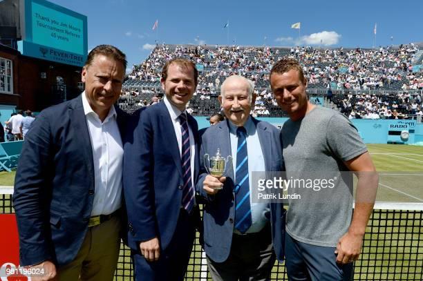 Lars Graff of Sweden ATP Supervisor Stephen Farrow of United Kindgom Tournament Director Jim Moore of Australia Tournament Referee and Lleyton Hewitt...