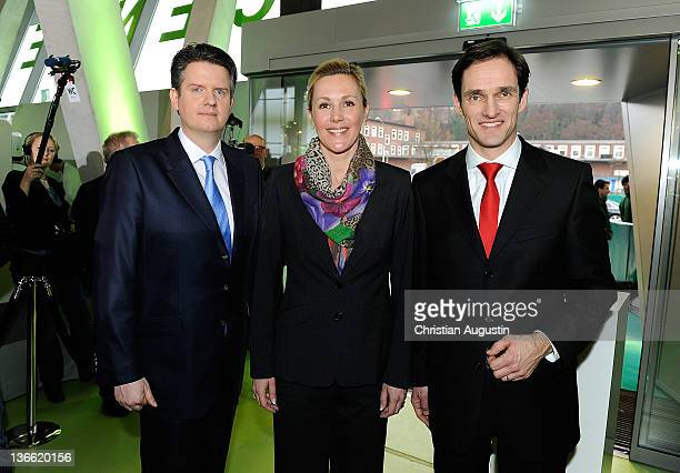 Lars Haider, chief editor of Hamburger Abendblatt, German First Lady Bettina Wulff and Frank Mahlberg attend the 'Hamburger Abendblatt' New Year's...