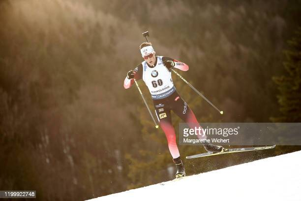Lars Helge Birkeland of Norway competes during the Men 10 km Sprint Competition at the BMW IBU World Cup Biathlon Ruhpolding on January 16, 2020 in...