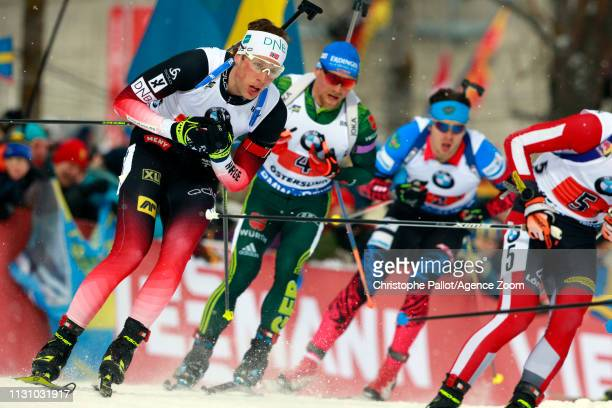 Lars Helge Birkeland of Norway in action during the IBU Biathlon World Championships Men's and Women's Relay on March 16, 2019 in Oestersund, Sweden.