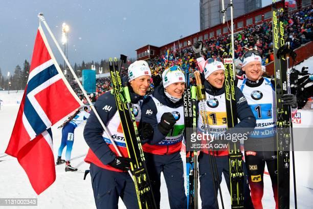 Lars Helge Birkeland, Vetle Sjaastad Christiansen, Tarjei Boe and Johannes Thingnes Boe of Norway celebrate winning the men's 4x7,5 km relay...
