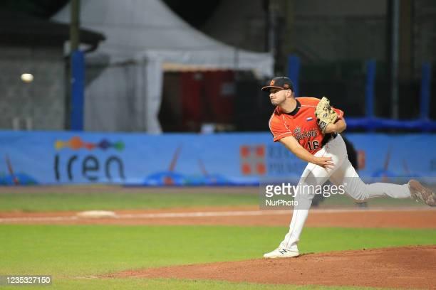 Lars Huijer during the Baseball match Baseball European Championship 2021 - Quarter finals - Netherlands vs Great Britain on September 16, 2021 at...